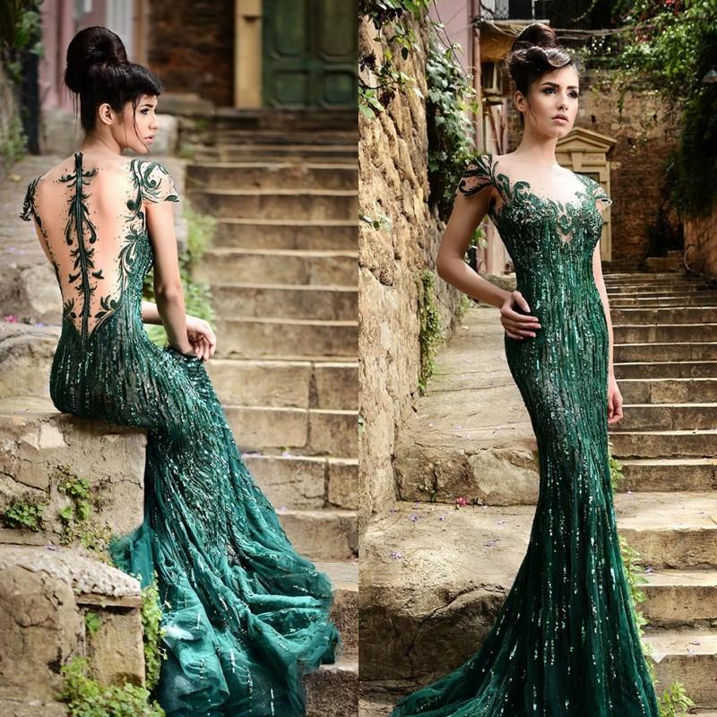 2015 Rami Salamoun Dresses Green Prom Dresses Mermaid Scoop Cap Sleeves Sheer Back Formal Gowns Luxury Crystal Beaded Evening Dresses