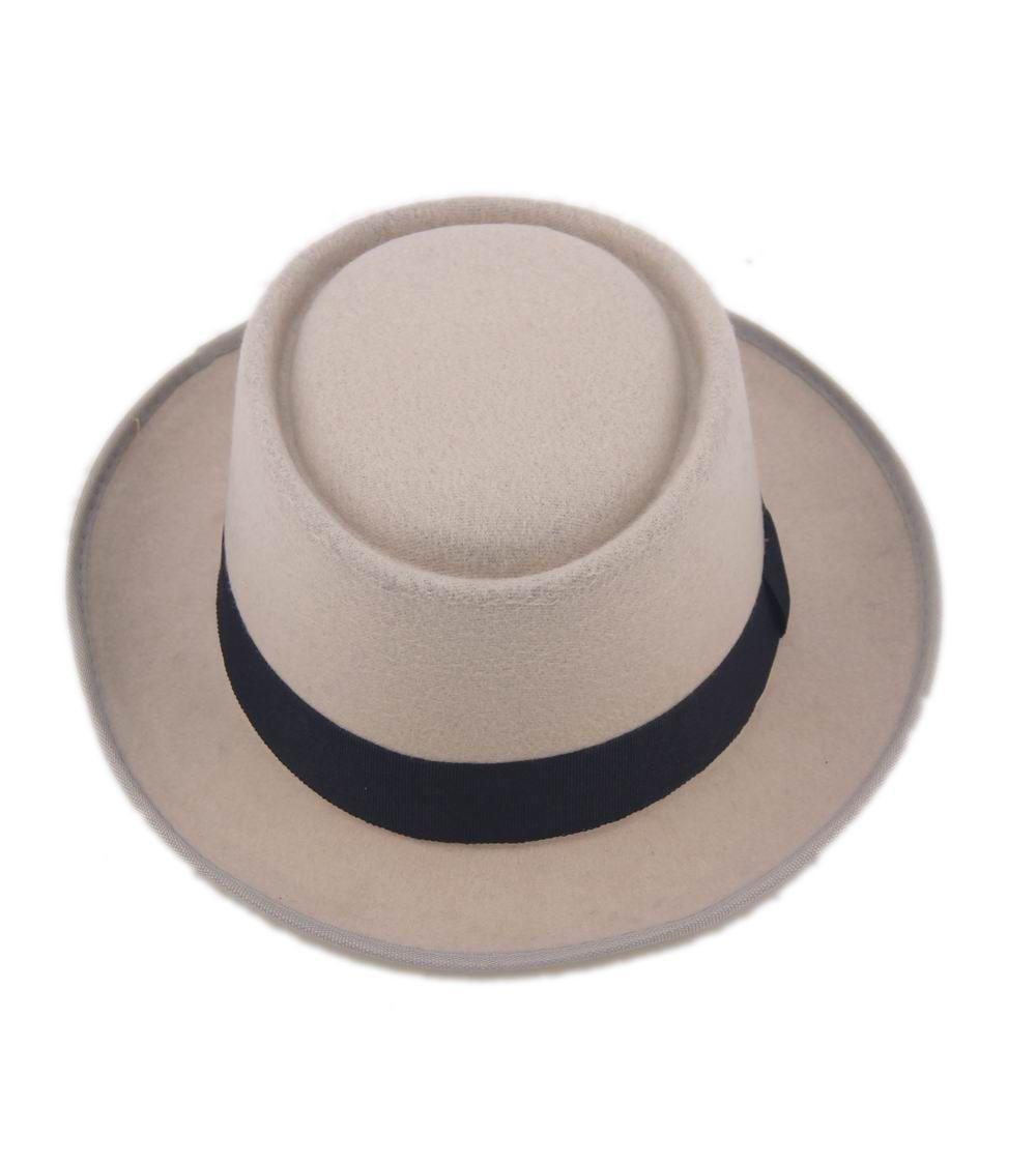 Groothandel-2015 mode unisex vilt varkensvlees taart mannen gekrulde edg cap Europese amerikaanse platte caps cirkelvormige hoge hoeden Fedoras Chapeu Fedora hoed