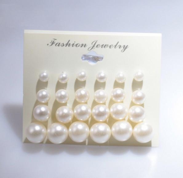 Boucles D'Oreilles Pour Femme Mode Perle Blanche Piercing Boucles D'Oreilles Femmes Lady Jewelry 6mm / 8mm / 10mm / 12mm Mix Taille 1 Carte 12 Paires Perles Boucles D'oreilles