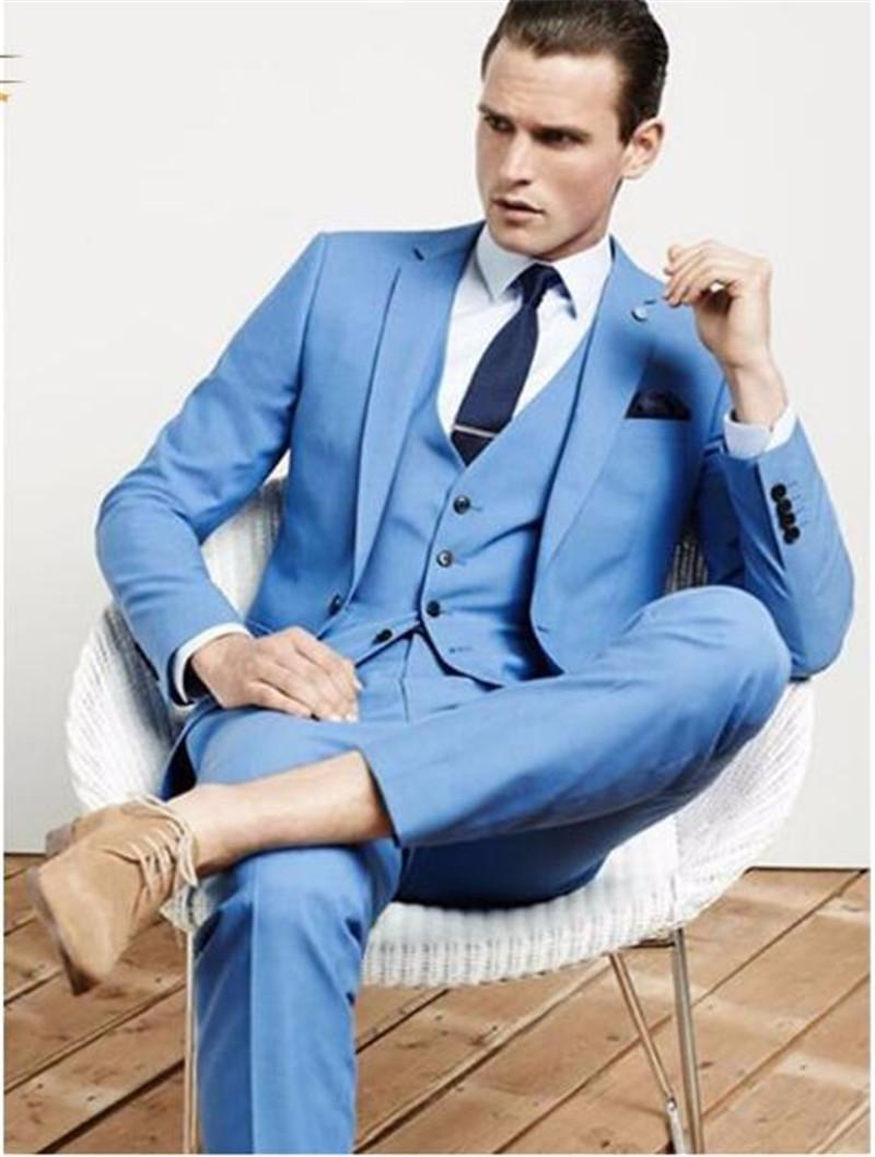 Sky Blue Mens Tuxedos Custom Wedding Suits For Men With Pants Slim ...