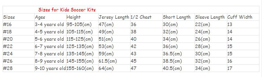 Image result for kids jersey size chart, 16, 18,20,22,24,26