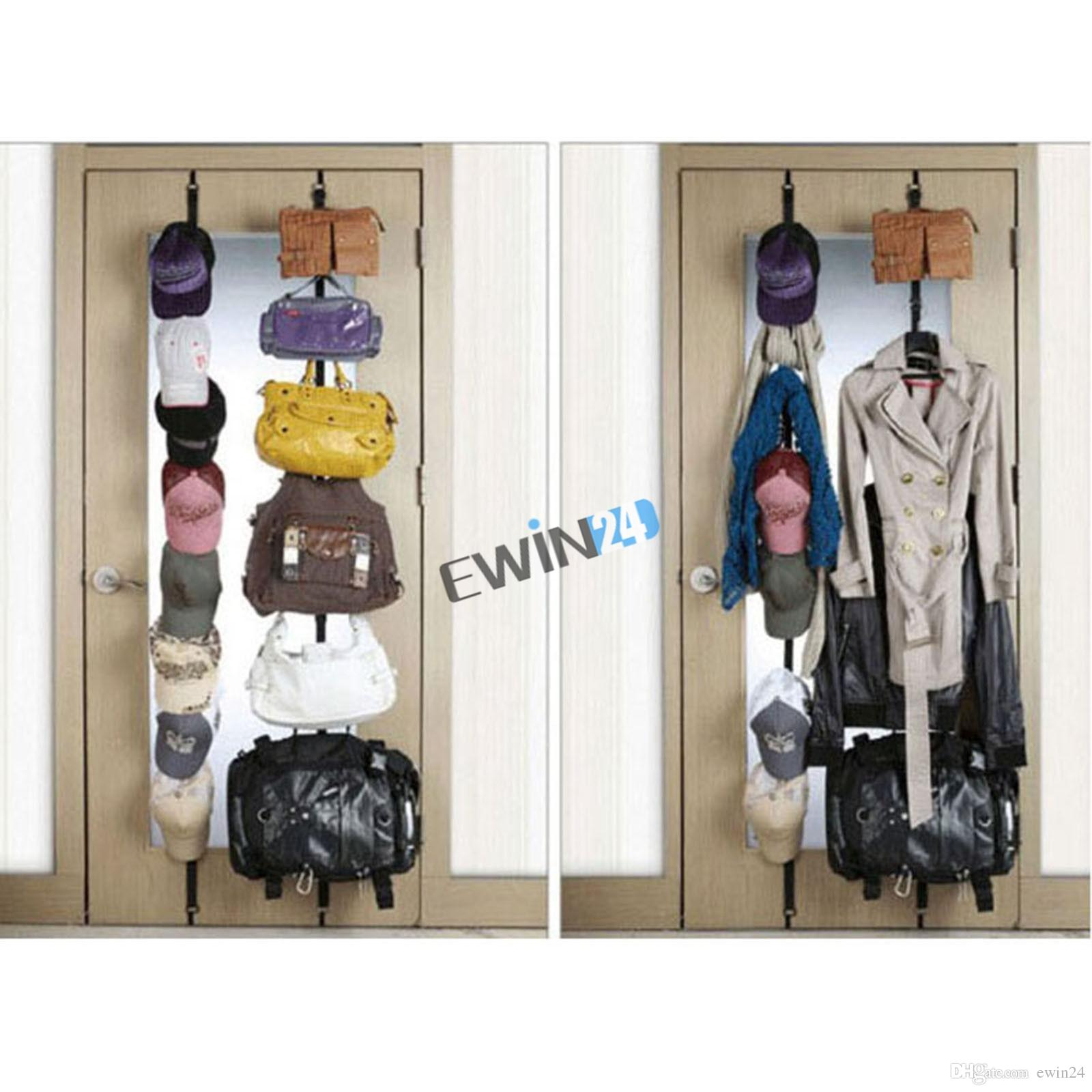 Brand New Adjustable Over Door Straps Hanger Hat Bag Coat Clothes Rack Organizer 8 Hooks 100pcs