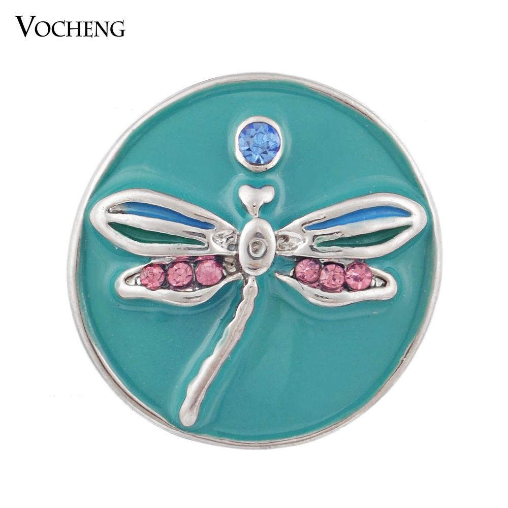 Vocheng Noosa DIY Jewelry Accessory Fashion Red Dragonfly Chunk Snap Button (Vn-200)