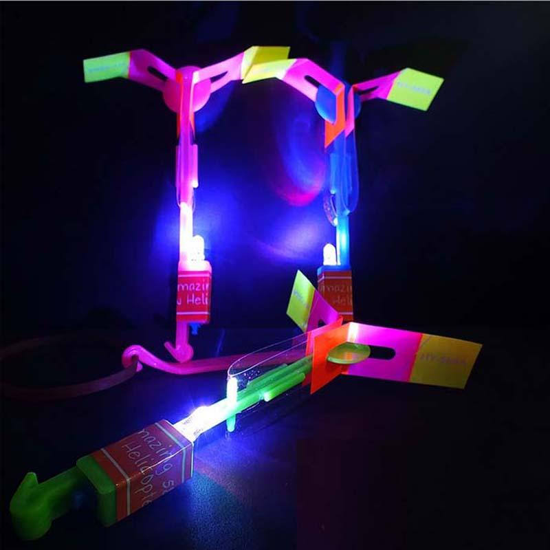 20pcs LED Flare Copter Amazing Slingshot Helicopter Light Toy Bright Spin Fly Glow Birthday Party Halloween Children'Day Christmas