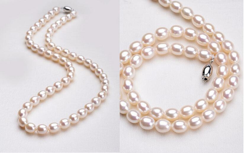 Fine pearls jewelry natural pearl necklace casual water drop 7-8 mm white rice pearl choker Beaded Necklaces 18 inch