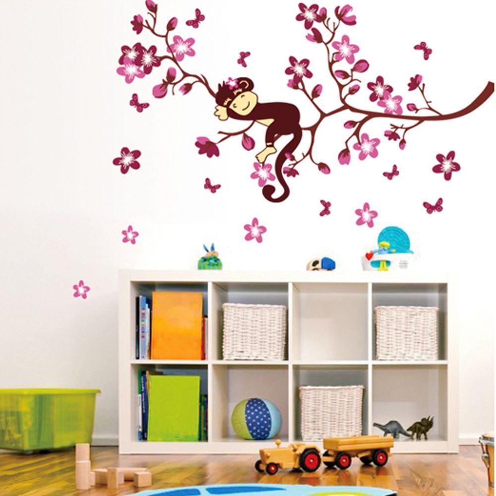 Großhandel Schöne Kinderzimmer Wandtattoo Aufkleber Süße Affe Träumen Auf  Ast Wandkunst Poster Wandbild Für Wohnzimmer Schlafzimmer Kinderzimmer ...