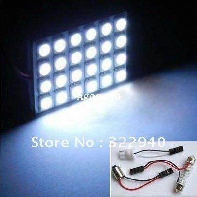 10pcs 24 SMD 5050 Car Interior LED Panel Light with T10 BA9s and Festoon light adapters White/warm white color