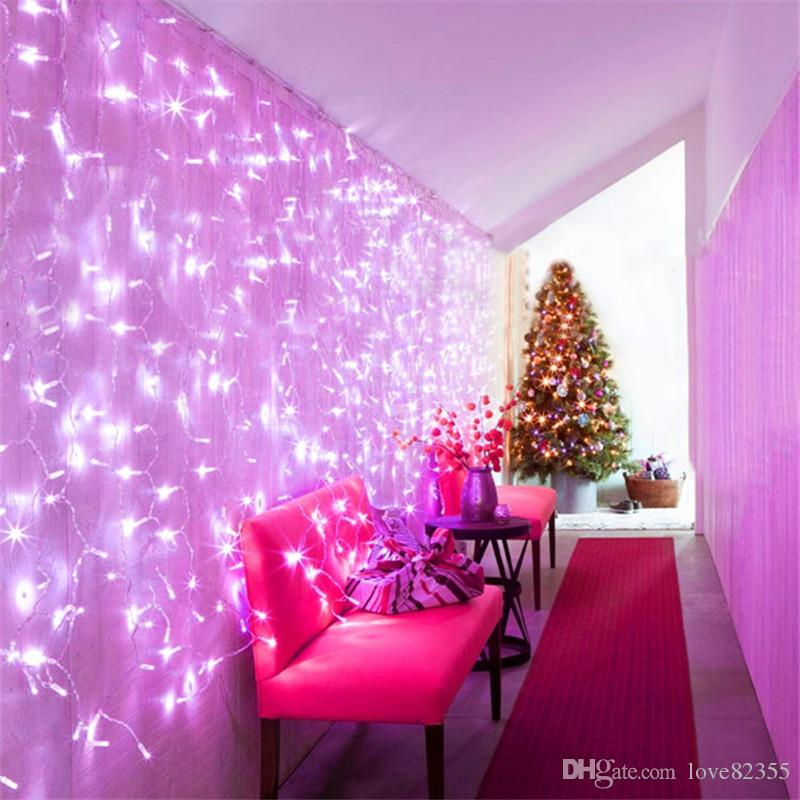 3M X 2M 192 LED 커튼 가벼운 문자열 야외 파티 크리스마스 크리스마스 문자열 요정 웨딩 커튼 라이트 110V ~ 127V 또는 220 ~ 240V