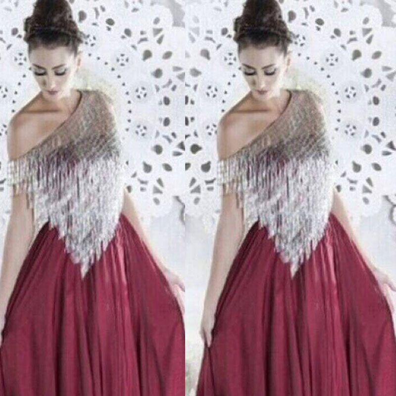Abiti da sera rosso vino 2015 Nappe d'argento Scollo asimmetrico Chiffon pavimento-lunghezza Prom Party Abiti vestido de formatura