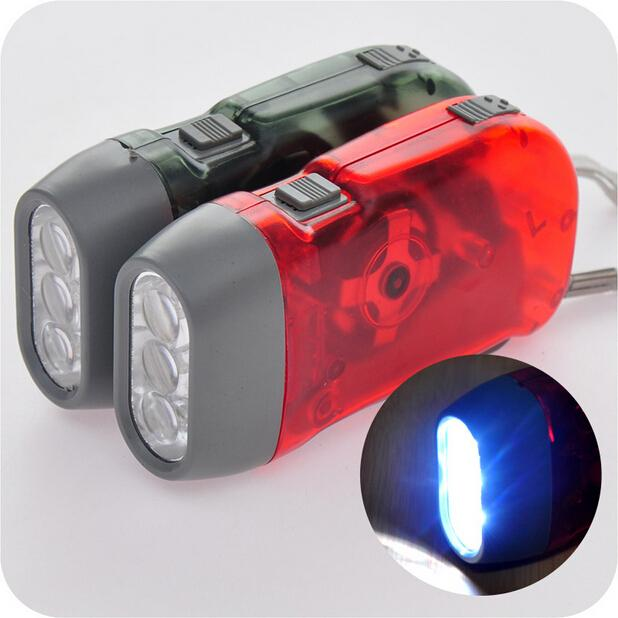 Hand Dynamo Generator Handtryck LED-ficklampa Märke NO BATTERI Hand Tryck på Driva 3 LED ficklampa Dynamo Torch Cya5