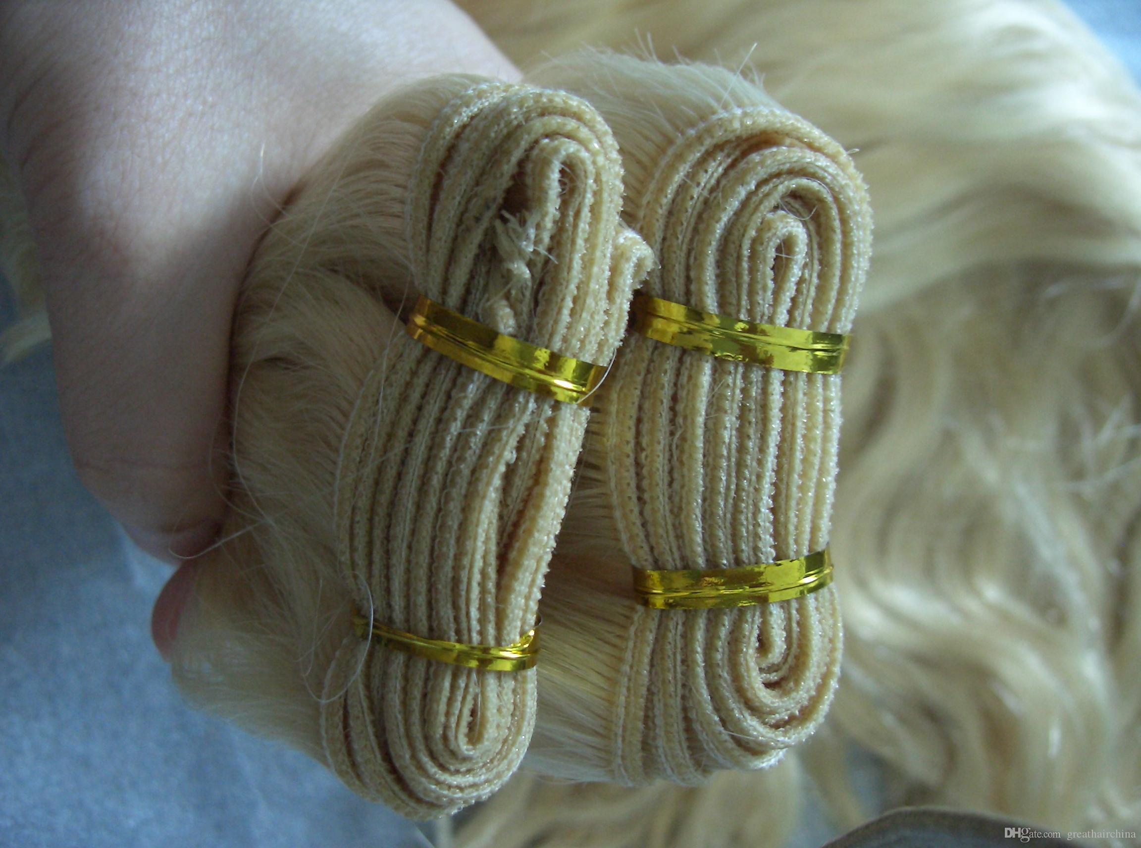 """Europejska Blondynka Naturalna Wave Naturalne Ludzkie Przedłużenie włosów, 16 """"-26"""" 613 # Prawdziwe maszyna tkania włosów 1 sztuka / lot, Darmowa wysyłka"""