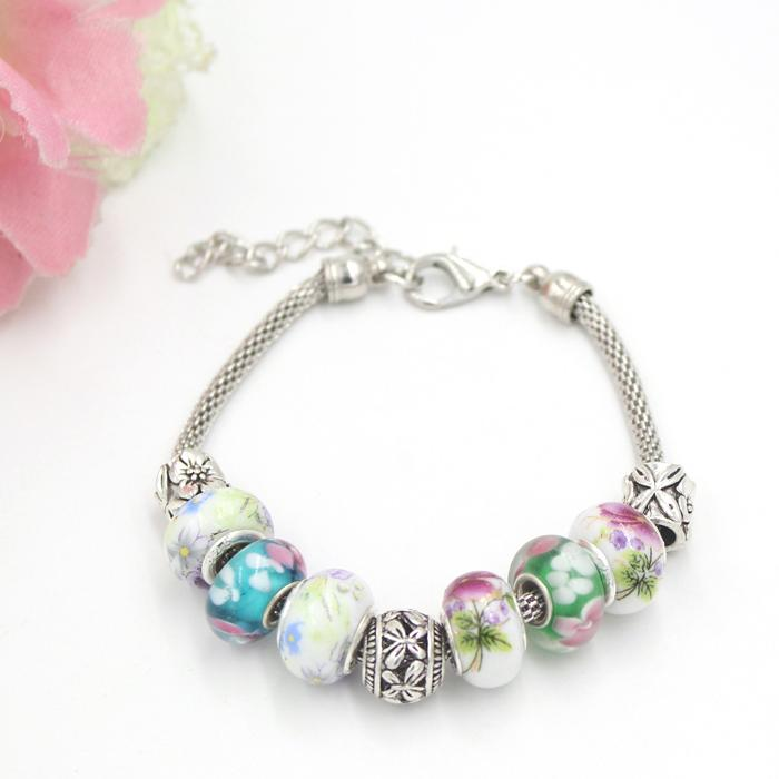 Free Shipping New Arrival Bracelet Flower Pattern Lapmwork Murano Glass Bead European Style Charm Bracelet for Women Gift Jewelry