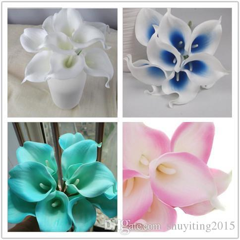 Top Quality 1pack/lot 100pcs Real Touch Lily Calla PVC Artificial Flower Bouquets Home Wedding Bridal Decor Many Colors