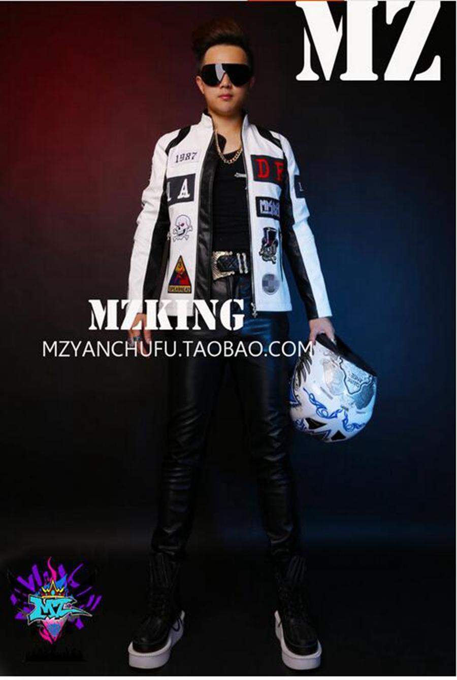 المغني الذكور هان طبعة الأزياء النادي في أوروبا والممر يبدو الأزياء أبيض وأسود جلد الفسيفساء. S - 6 xl
