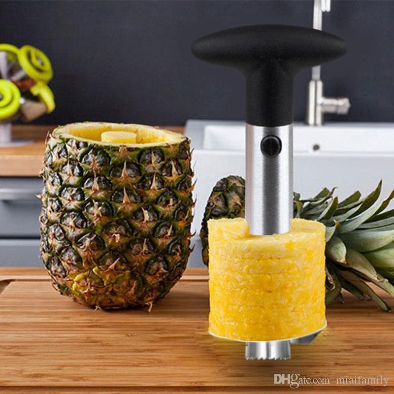 Moda Hot Novidade Casa possui aço inoxidável Frutas Abacaxi Corer Slicer Peeler Cortador Parer Faca com pacote de varejo Frete Grátis