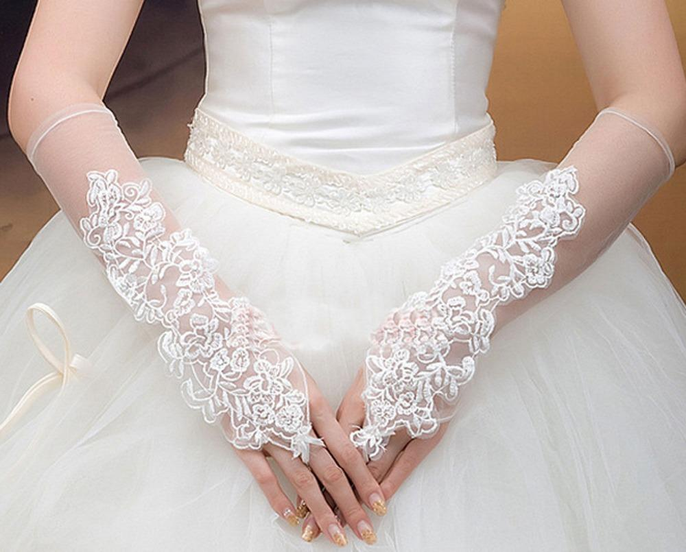 2019 Tanie w magazynie Biały Ivory Tulle Rękawice ślubne Krótkie Koronki Suknie Ślubne Rękawiczki