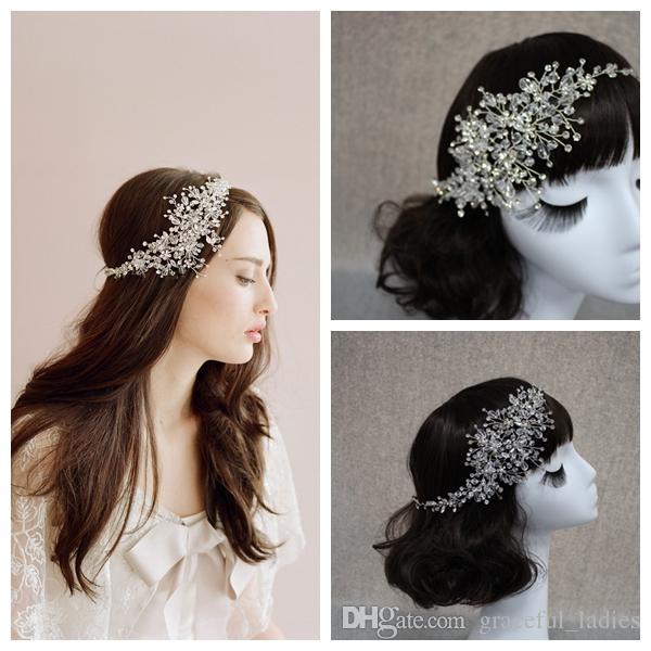Handgjord Crystal Ice Bridal Sparking Headpiece Beaded Bröllop Headpiece Bride Tillbehör Hårtillbehör Bröllop Huvudband Huvudstycken