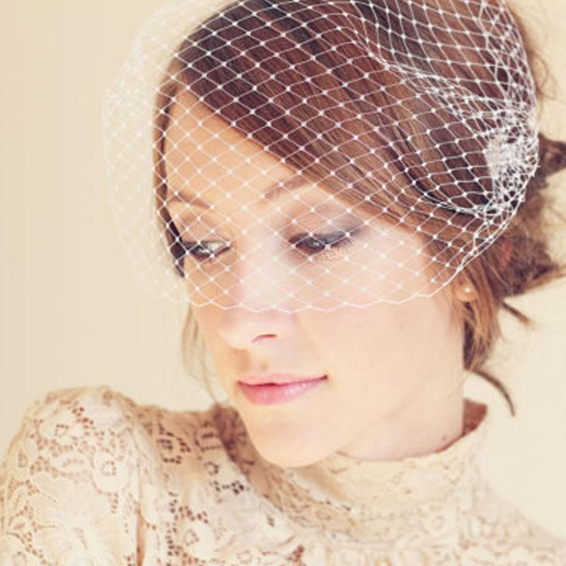 Simple New Arrival 2015 One Layer Birdcage Veils Real Image Netting Wedding Veils For Bridal Custom Made EN7074