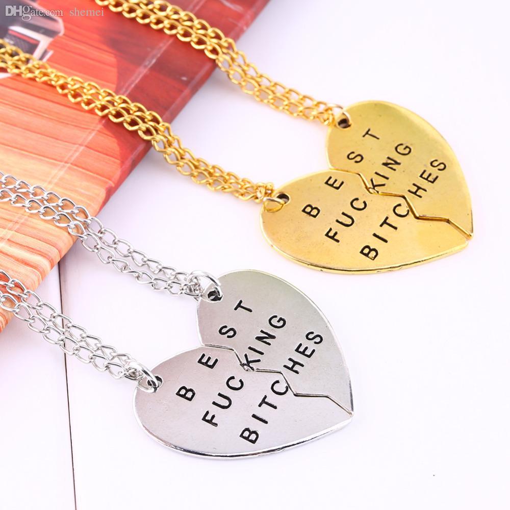 الجملة قلادة الصداقة المكسور القلب قلادة قلادة فضية سلسلة ذهبية بيان المختنق قلادة أفضل الكلبات بالنسبة لك مجوهرات النساء
