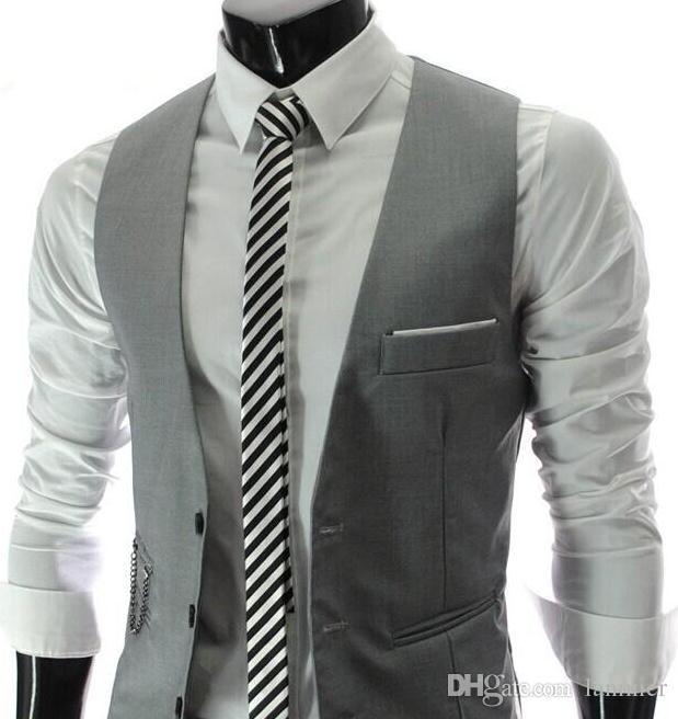 Fashion Men/'s Casual V-neck Suit Vest Waistcoat Business Slim Fit Cotton Coat US