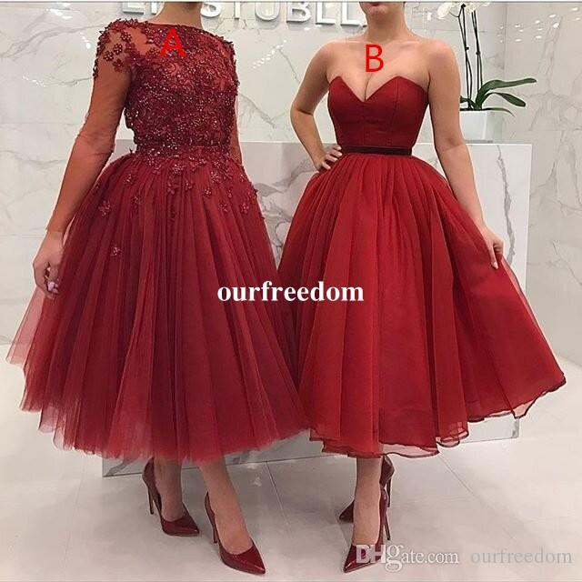 durable service exclusive shoes fashion 2018 Newest Burgundy Ankle Length Cocktail Dresses Lace Appliques Beaded  Maxi Style Formal Prom Dresses Party Gown Custom Made Hot Sale Semi Formal  ...