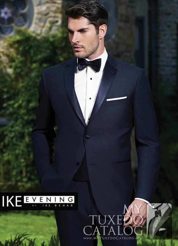 Ślub Tuxedo Navy Blue Slim Fit Custom Made Garnitury Męskie Groom Nosić 2021 wysokiej jakości garnitur