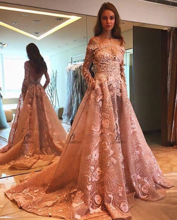 2016 스커트 롱 슬리브 댄스 파티 드레스 깜박임 핑크 레이스 오간자 3D 꽃 아랍어 두바이의 행사 드레스
