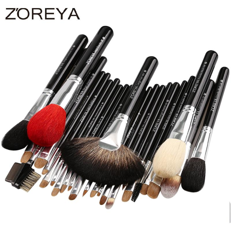 Sable Hair 26pcs Highl Quality Makeup Brushes Professional Make Up Brush Set with Cosmetic Bag Zoreya Brand