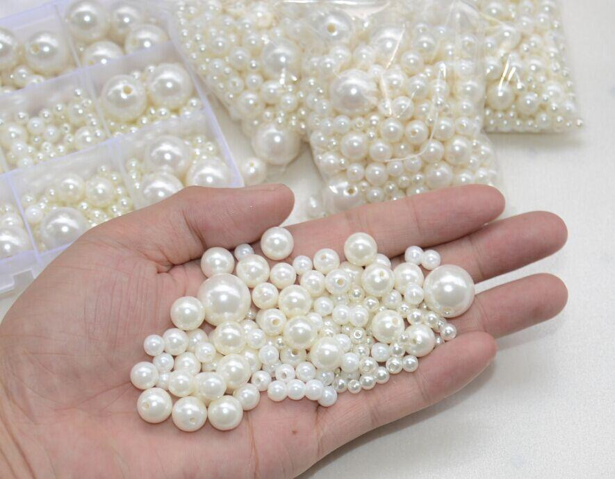 Livre shippment! 50 g / lote alta qualidade tamanhos mistos um buraco pérolas redondas pérolas de imitação artesanato arte jóias diy encontrar talão de costura