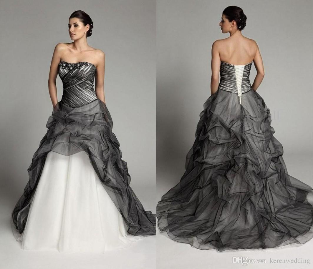 Discount 2015 Fashion Black And White Wedding Dresses Plus Size Strapless  Bridal Gowns Draped Beading Sequins Noble Princess Wedding Gowns Cheap WZ  ...