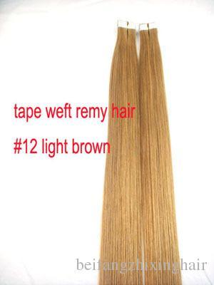 7A -14 '' - 24 '' Extensiones de cabello de la piel de la cinta 100% humano EMY de la venta al por mayor 2.5g / pcs 40pcs100g / set # 12 marrón claro DHL LIBRE