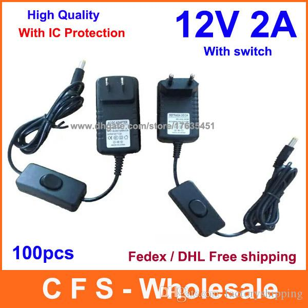 12V 2A Power Supply With Switch ON/OFF ON / OFF For Led Strip High Quality 100pcs Fedex/DHL Free shipping