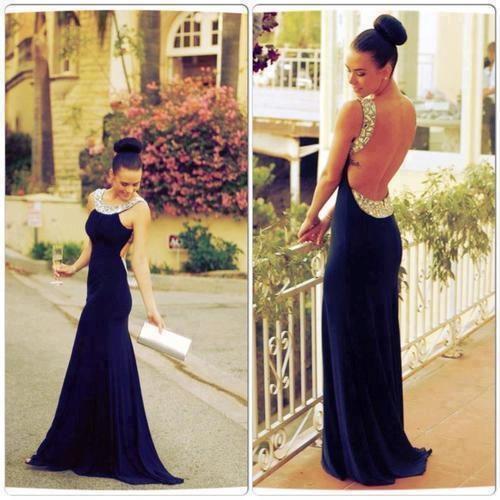 Nave Bleu Robe De Soirée Sexy Robes De Bal Sirène Style Équipage Retour Creux Robes De Festa Étincelle Cristal Robes De Fête De Mariage 2015