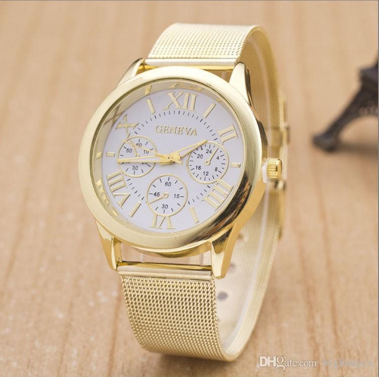 Fashion Unisex Geneva Roman Numerals watch Mesh Wire Steel band Analog Quartz Wrist Watches for women men wrist watch dress watches