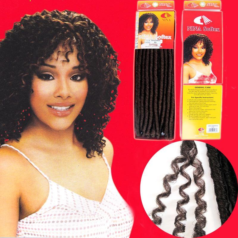 soft dread locks kinky braid NINA SOFTEX kanekalon fiber synthetic braid hair extension mixed color curly hair extension 3pcs/lot free sh
