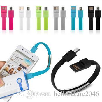 100pcs / lot breve tratto pianeggiante del braccialetto banda magnetica cavo USB della fascia di polso cavo 2.0 del caricatore di sincronizzazione di dati per Samsung Smartphone Android