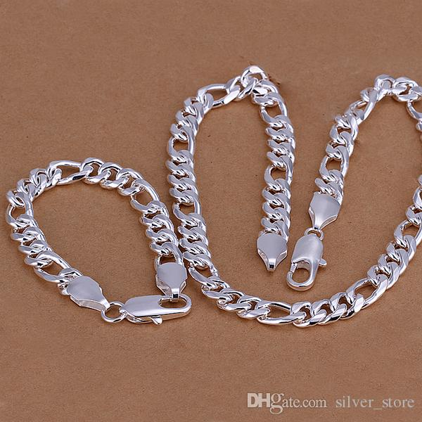높은 등급의 925 스털링 실버 10MM 세 조각 '- 남성 쥬얼리 세트 DFMSS097 브랜드의 새로운 공장은 925 silve 목걸이 팔찌를 직접