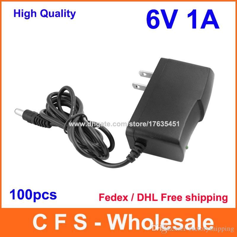 100pcs التي جودة عالية AC 100-240V إلى DC 6V 1A محول التيار الكهربائي و 5.5mm 2.1mm س دي إتش إل الحرة الشحن