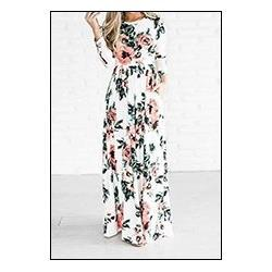 Preself-Floral-Printed-Long-Maxi-Dress-New-Women-Crew-Neck-Fashion-3-4-Sleeve-Plus-Size