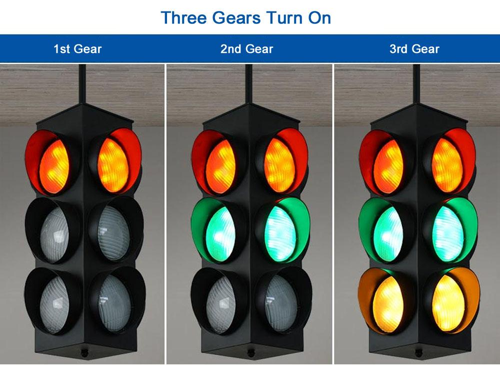 Black W American Style Traffic Signal Light MetalGlass LED Pipe - Traffic light for bedroom