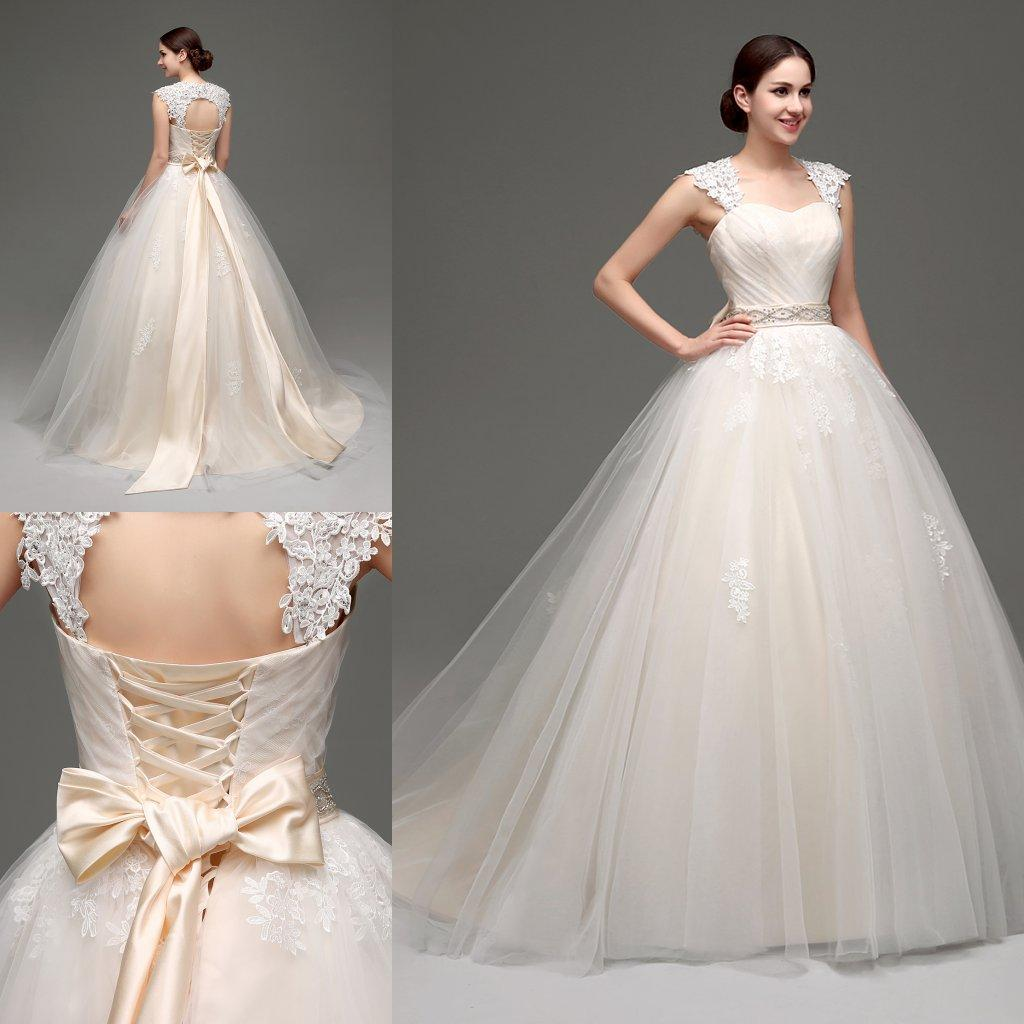 Stock Designer Wedding Dresses Ball Gown 2018 Cheap Light Champagne Lace Bridal Gowns with Detachable Bolero Tulle Victorian Wedding Dress