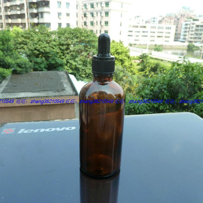 100ml 갈색 / 호박색 유리 에센셜 오일 병 검정색 플라스틱 일반 스포이드 캡. 오일 바이알, 에센셜 오일 용기