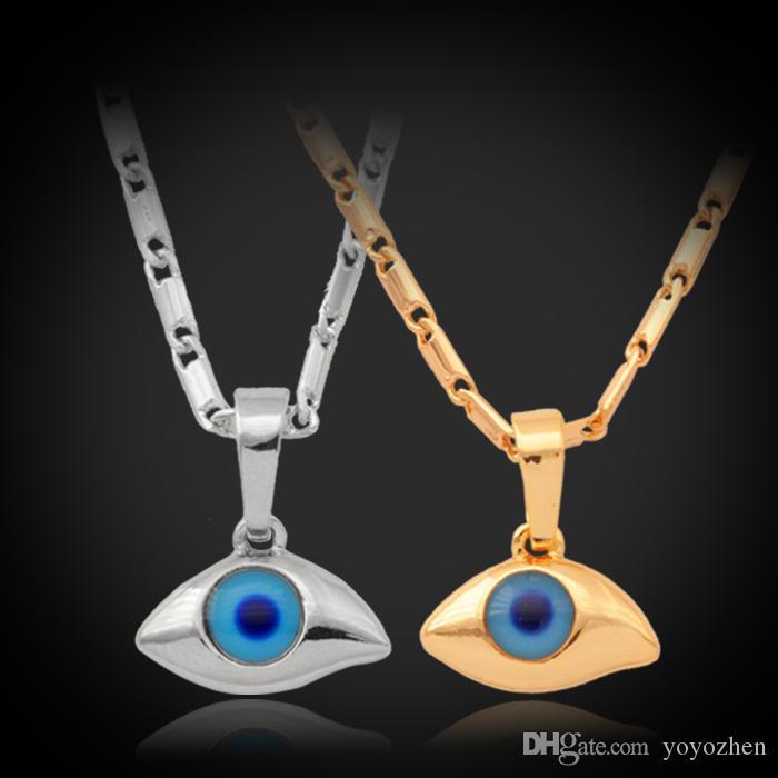 新しいアイテムブルー邪眼ペンダントチョーカーチェーンネックレス高品質18KリアルゴールドメッキラインストーンラッキージュエリーギフトYP236