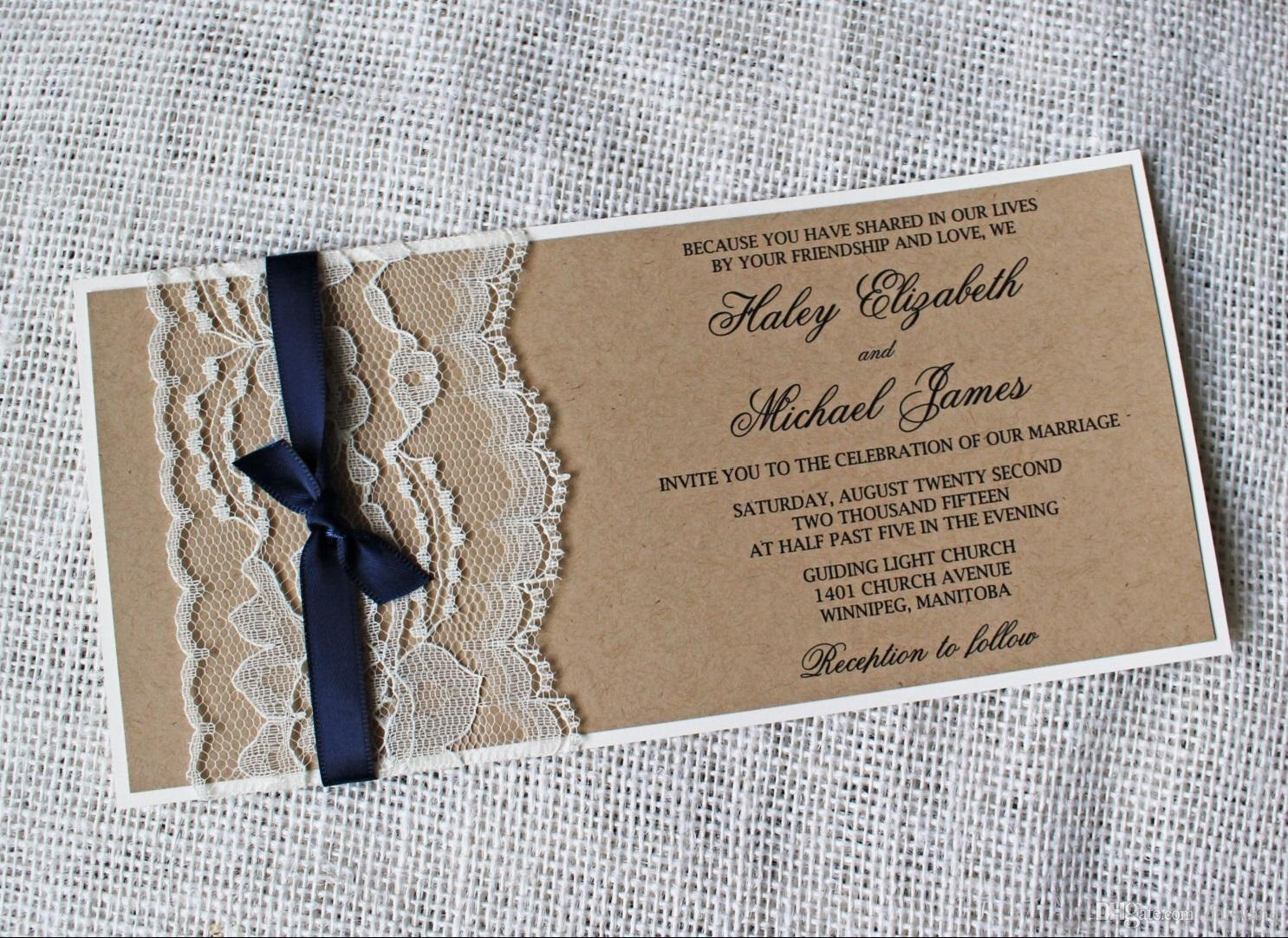 2018 Rustic Wedding Invitation Set Country Wedding Kraft Paper Invitation Cards Printable Ribbon And Lace Custom Made Handmade Diy Wedding Favor From