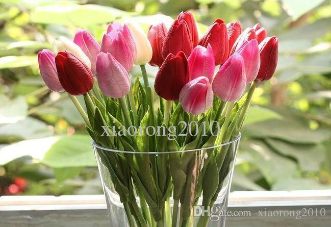 Artificielle Tulipes 100pcs 30cm PU Real Touch Faux Simulation Tulipes Tulipe Fleur De Mariage Bouquets De Mariée Fleurs Décoratives