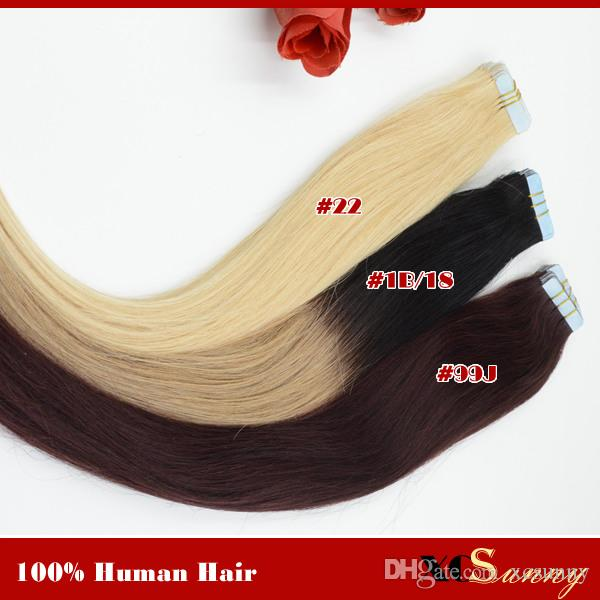 XCSUNNY Extensiones de cinta de cabello humano Ombre Indian Remy Hair Straight 40pcs 100g Extensiones de cinta de cabello humano Tape Ombre