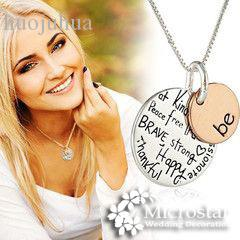 """Wholesale-Two-Tone """"Be"""" Inspirational Pendant Necklace Graffiti Charm Best Friends Sister Friendship For Women Wedding Favors And Gifts"""