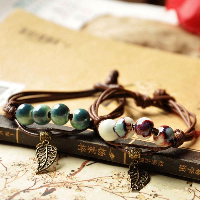 أزياء الترفيه العرقية نمط جودة عالية الأصلي السيراميك برونز اليدوية الخزف الخرز حبل أساور للنساء he001