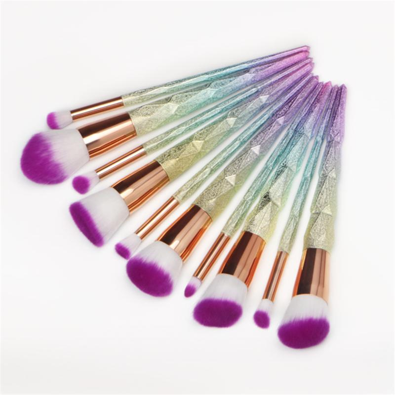 Professional 10pcs Makeup Brushes Set Thread Rainbow Diamond Handle Shape Face Make Up Brush Beauty Kit Tools