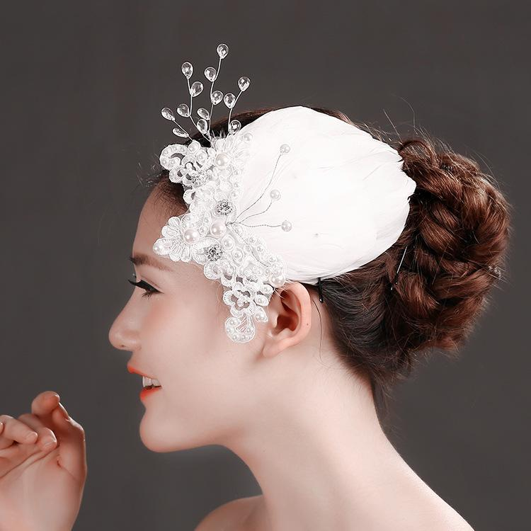 2015 элегантный свадебные перья жемчуг заколки кружева свадебные заколки ручной работы свадьба Пром партии аксессуары для волос со стразами